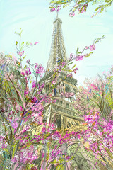 Wall Mural - Street in paris - illustration concept