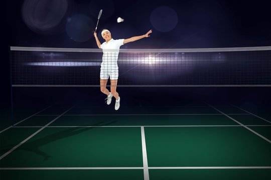 Composite image of badminton player playing