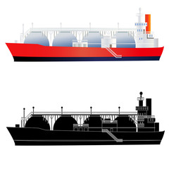 LNG tanker, side view, silhouette. Vector illustration, isolated on white.