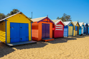 The colorful landmark of Brighton Beach in Melbourne