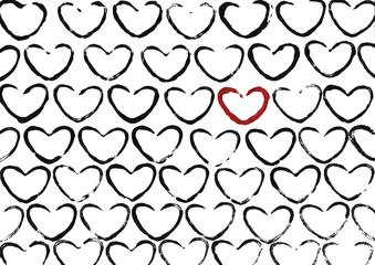 Abstract heart pattern. Gouache illustration.