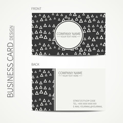 Vector simple business card design. Template. Black and white. Business card for corporate business and personal use. Trendy calling card. Geometric monochrome triangle pattern. Delta, trigon.