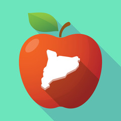 Long shadow red apple icon with  the map of Catalonia