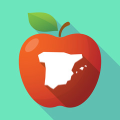 Long shadow red apple icon with  the map of  Spain