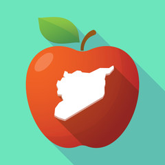 Long shadow red apple icon with  the map of Syria