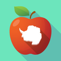 Long shadow red apple icon with  the map of  Antarctica