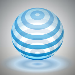 Vector transparent sphere striped, blue volume form, reflection abstract form, vector design