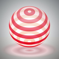 Vector transparent sphere striped, red volume form, reflection abstract form, vector design