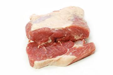 Fresh pork on white background