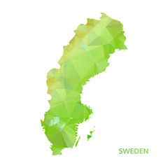 abstract polygonal sweden map. poly low isolated vector. polygon
