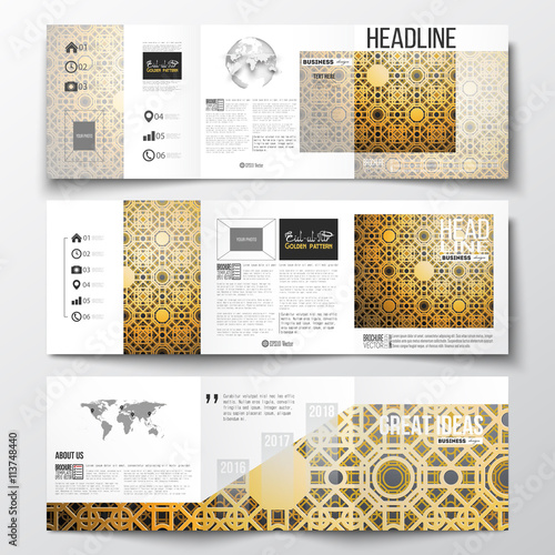 set of tri fold brochures square design templates islamic golden