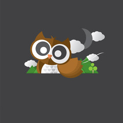 Single Cute Owl Portrait Vector Illustration.