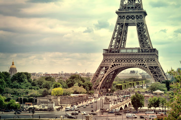Panorama Eiffel Tower in Paris. France. Vintage view. Tour Eiffel old retro style.