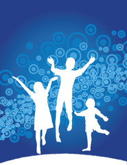 Blue background of kids jumping with space for text