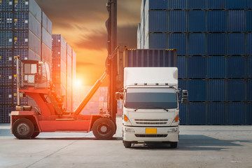 Fototapete - container truck ,ship in port and freight cargo plane in transport and import-export commercial logistic ,shipping business industry