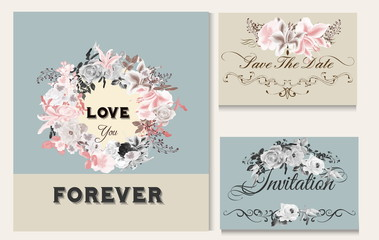 Vector invitation card with roses for design