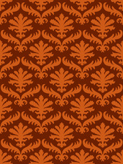 wrapping leaves damask seamless floral pattern background for website, wallpaper, repeating foliage floral western damask flower organic, orange drapery luxury tiled decor old revival venetian