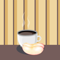 cup of tea with apple slices . vector