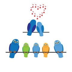 the family of birds. adults and children sit on power lines, vector illustration cartoon
