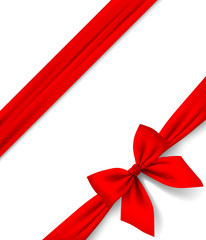 Red ribbon and bow isolated on white background