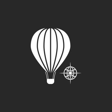 Hot air balloon journey sign simple icon on background