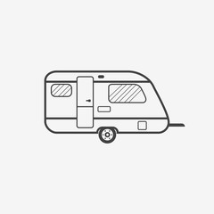 Camper trailer monochrome icon