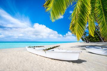 Wall Mural - Weißer Strand mit türkisblauem Wasser und Palmen