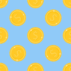 Seamless pattern with gold coins on blue background. Vector texture.