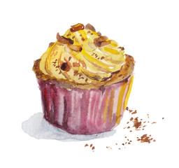 Hand painted watercolor cupcake with vanilla cream