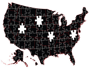 USA administrative map - puzzle