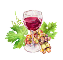 Wine glass with vine leaves, grape berries. Watercolor
