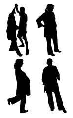 Silhouettes of pregnant woman