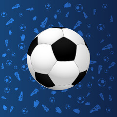 Football. Soccer. Soccer ball on blue gradient background with soccer related shapes. Soccer geometric pattern. Europe football championship. Europe soccer championship.