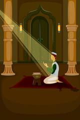 Muslim offering namaaz on Eid