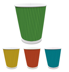Set of colored paper cups. Vector illustration