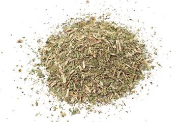 Pile of dried wild oregano herbal medicine tea on white