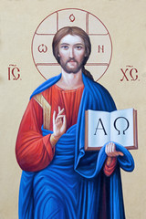 BRESCIA, ITALY - MAY 23, 2016: The icon of Jesus Christ the Pantokrator in presbytery of church Chiesa di Angela Merici by unknown artist.