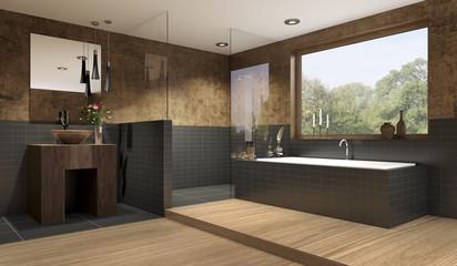 Edles graues Bad mit Fliesen und Holzoptik