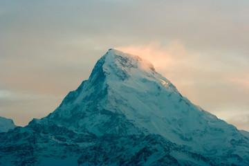 Annapurna, Himalayan range in Nepal. Closeup