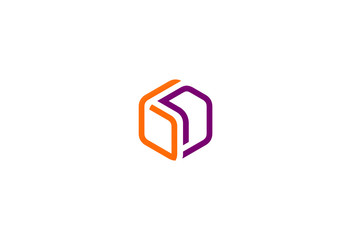 box 3D line vector logo