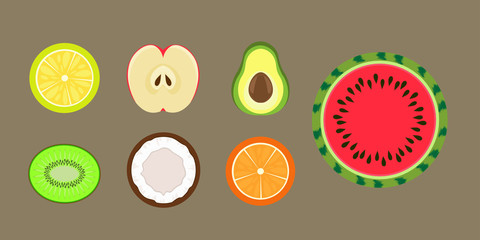 fruit section vector, half kiwi, avocado, watermelon, apple, orange