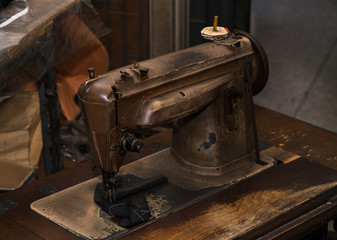 Close-up of antique sewing machine.