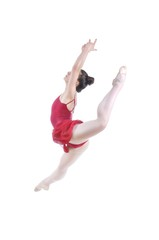 Beautiful artistic female ballerina working out, performing art element