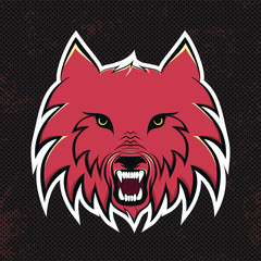 Red wolves modern logo for a sport team. Premade logotype