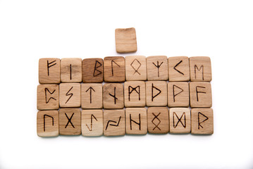 Ancient wooden runes, slavic old magic, futark