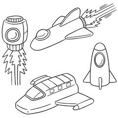 vector set of space ship