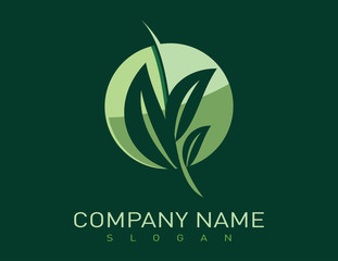 Lanscaping logotype Green background