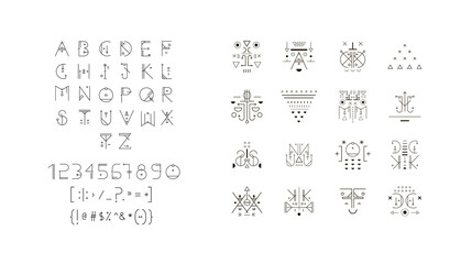 Set of vector trendy icons plus unusual geometric alphabet. Alchemy symbols collection
