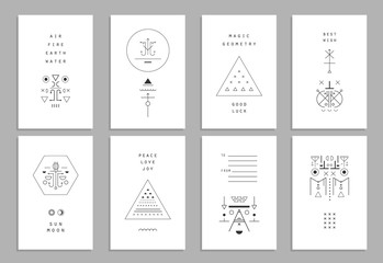 Set of vector trendy cards with geometric icons. Alchemy symbols. Vector
