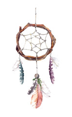 Dream catcher with feathers. Watercolor